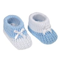 S432-B: Blue Cotton Turnover Baby Bootees