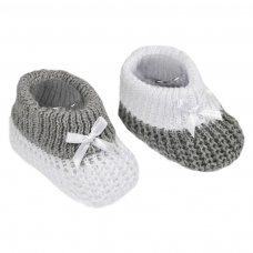 S433-G: Grey Cotton Turnover Baby Bootees