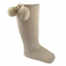 S47-BE: Beige Knee Length Pom-Pom Socks (0-12 Months)