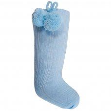 S47-B: Blue Knee Length Pom-Pom Socks (0-12 Months)