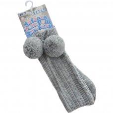 S47-G: Grey Knee Length Pom-Pom Socks (0-12 Months)
