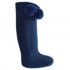 S47-N: Navy Knee Length Pom-Pom Socks (0-12 Months)