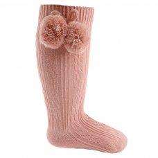 S47-RO: Rose Gold Knee Length Pom-Pom Socks (0-12 Months)