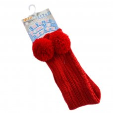 S47-R: Red Knee Length Pom-Pom Socks (0-12 Months)