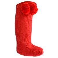 S47-R: Red Knee Length Pom-Pom Socks (0-12 Months)
