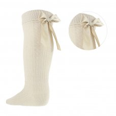 S51-BE: Beige Ribbed Knee Length Socks w/Stitched Bow (2-6 Years)