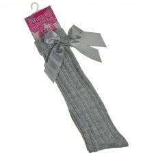 S51-G: Grey Ribbed Knee Length Socks w/Stitched Bow (2-6 Years)