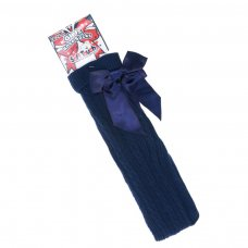 S51-N: Navy Ribbed Knee Length Socks w/Stitched Bow (18m-6 Years)