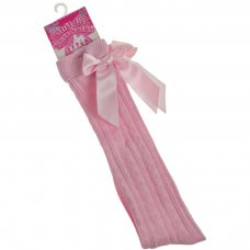 S51-P: Pink Ribbed Knee Length Socks w/Stitched Bow (2-6 Years)