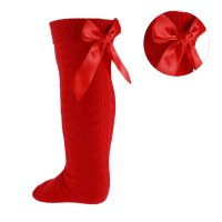 S51-R: Red Ribbed Knee Length Socks w/Stitched Bow (2-6 Years)