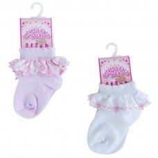 S54: Plain Socks W/Satin Lace & Flower Trim (0-12 Months)