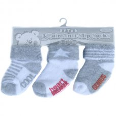 S60-G: 3 Pack Grey Anti-Slip Terry Socks (0-12 Months)