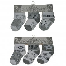 S62: Grey 3 Pack Turnover Socks (0-12 Months)