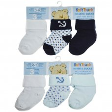 S64: Boys 3 Pack Turnover Socks (0-12 Months)