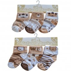 S65: Brown 3 Pack Turnover Socks (0-12 Months)