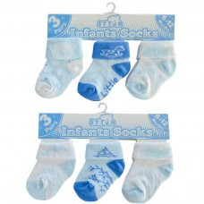 S69: Boys 3 Pack Turnover Socks (0-12 Months)