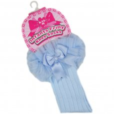S72-B: Blue Ribbed Knee-Length Socks w/Organza Lace & Bow (NB-18 Months)