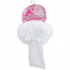 S72-W: White Ribbed Knee-Length Socks w/Organza Lace & Bow (NB-18 Months)