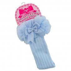 S75-B: Blue Ribbed Knee-Length Socks w/Organza Lace & Bow (18m-6 Years)