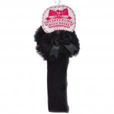 S75-BLK: Black Ribbed Knee-Length Socks w/Organza Lace & Bow (18m-6 Years)