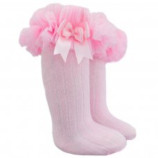 S72-P: Pink Ribbed Knee-Length Socks w/Organza Lace & Bow (NB-18 Months)