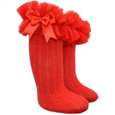 S72-R: Red Ribbed Knee-Length Socks w/Organza Lace & Bow (NB-18 Months)