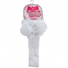Baby Girls Ribbed Knee Length Tutu Socks With Spanish Satin Organza Lace /& Bow From NB To 3-6 Years S72