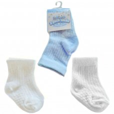 S82-B: Boys 3 Pack Ribbed Socks (0-12 Months)