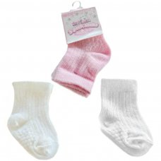S82-P: Girls 3 Pack Ribbed Socks (0-12 Months)