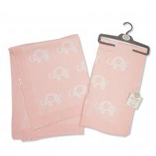 BW-110-406P: Baby Cotton Shawl - Elephant - Pink