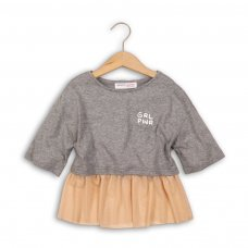 Shimmer 3P: Mix Fabric Drop Shoulder Top With Frilled Hem (8-13 Years)
