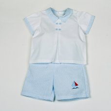 H1802: Baby Boys Boat Stripe T-Shirt & Short Set (0-9 Months)