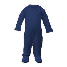 SS4-Navy: Plain Cotton Sleepsuit (Newborn)