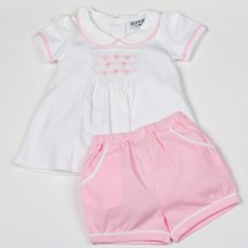 H1927: Baby Girls Smocked Top & Doby Short Set (0-9 Months)