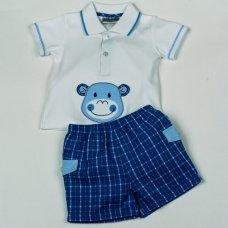 H2919: Baby Boys Monkey Polo Shirt & Check Short Set (3-12 Months)