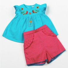 H3853: Baby Girls Parrots Top & Short Set (1-2 Years)