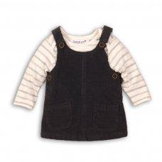Swan 8P: 2 Piece Cord Pinafore & Stripe Bodysuit Set (12-24 Months)