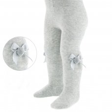 T41-G: Plain Grey Tights with Bow & Pom Pom (NB-24 Months)