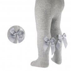 T42-G: Grey Diamond Jaquard Tights w/Long Bow (NB-24 Months)