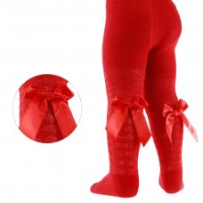 T42-R: Red Diamond Jaquard Tights w/Long Bow (NB-24 Months)