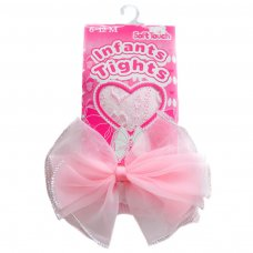 T43-P: Pink Hearts Jacquard Tights with Large Bow (NB-24 Months)