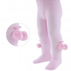 T45-P: Pink Check Tights with Pom Pom (NB-24 Months)