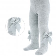 T47-G: Grey Heart Tights w/Large Bow (NB-24 Months)