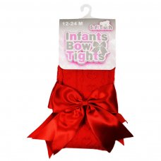 T47-R: Red Heart Tights w/Large Bow (NB-24 Months)