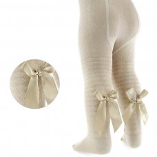 T51-BE: Beige Diamond Jacquard Tights w/Long Bow (2-5 Years)