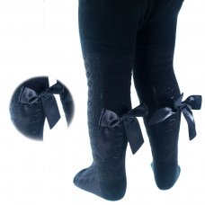 T51-BLK: Black Hearts Jacquard Tights w/Long Bow (2-5 Years)
