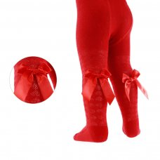 T51-R: Red Diamond Jacquard Tights w/Long Bow (2-5 Years)