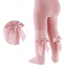 T51-RO: Rose Gold Diamond Jacquard Tights w/Long Bow (2-5 Years)