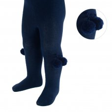 T53-N: Plain Navy Tights with Pom Pom (18m-5 Years)