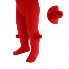 T53-R: Plain Red Tights with Pom Pom (18m-5 Years)